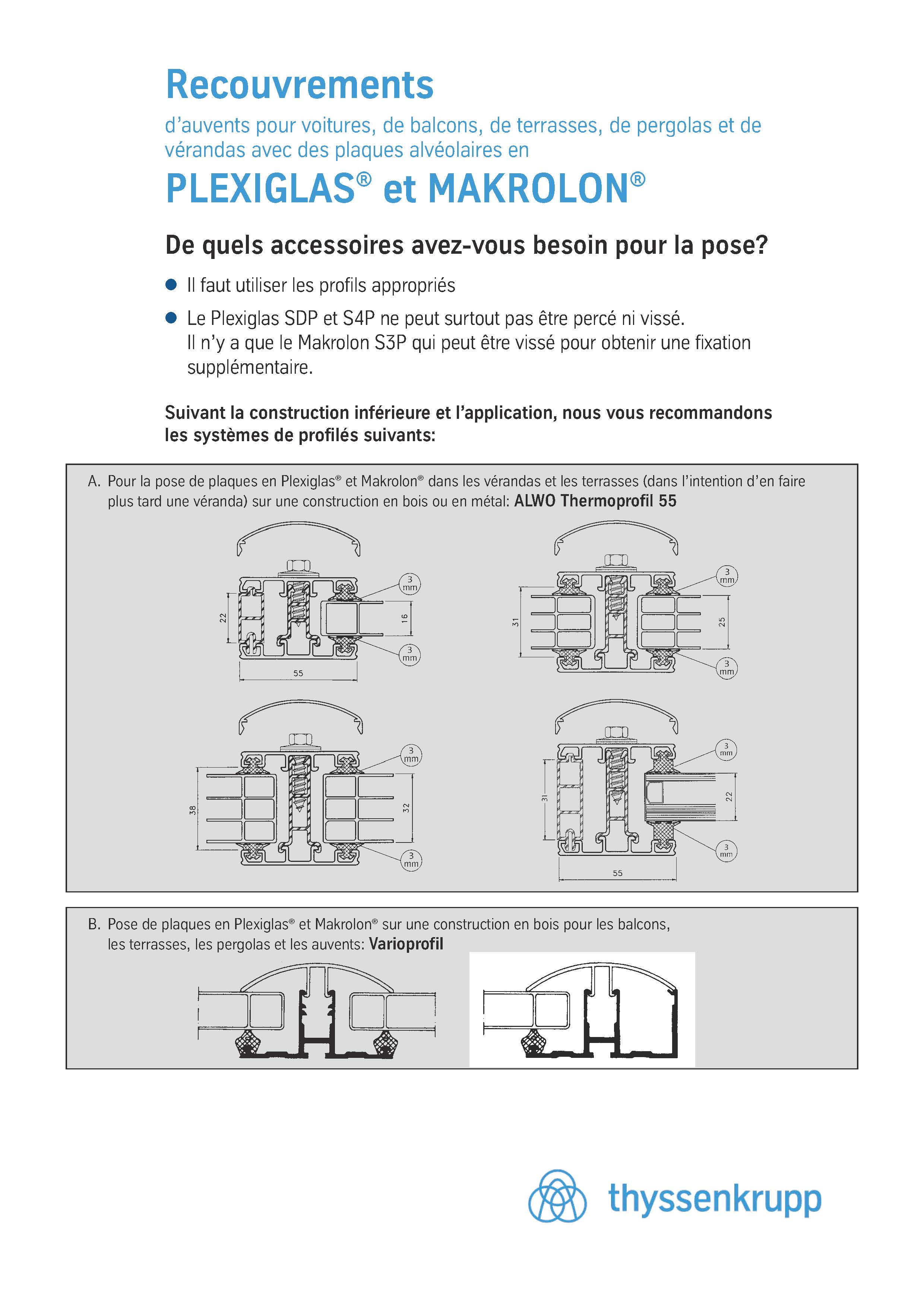 Afbeelding Cover Brochure Montage Profilés