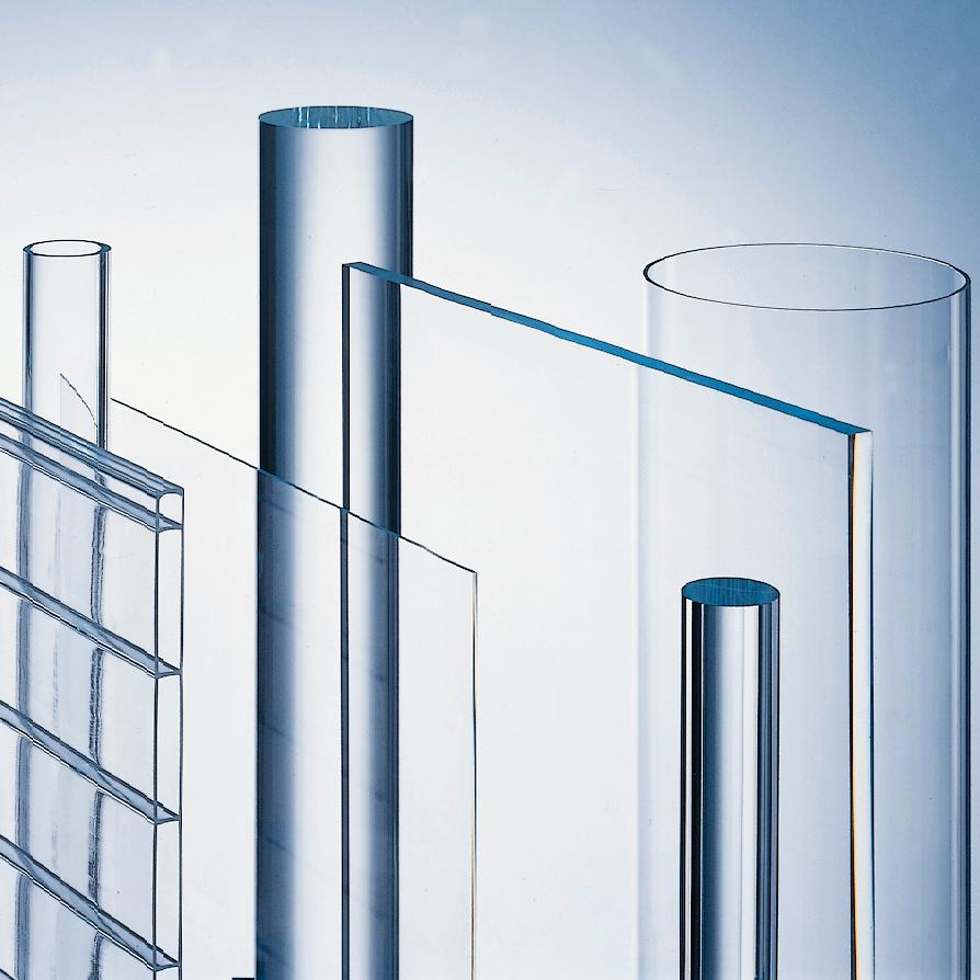 thyssenkrupp PMMA (PLEXIGLAS®), PC (Makrolon®), PET-G (HIPEX®), PVC helder (Polyvinylchloride).